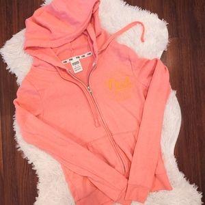 PINK Zip Up Hoodie Pink and Orange